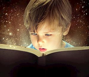 Pojke som läser en bok, omgiven av gnistrande stjärnor.