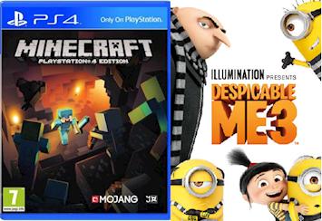 Ps4 spel: Minecraft och dvd-film: Dumma mej 3.