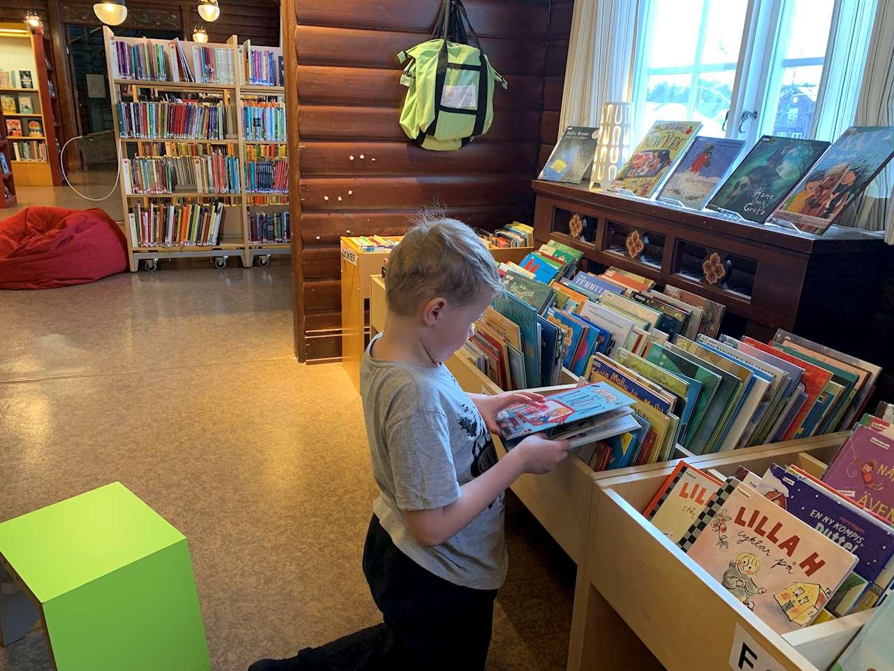 Läsande barn i Storumans bibliotek