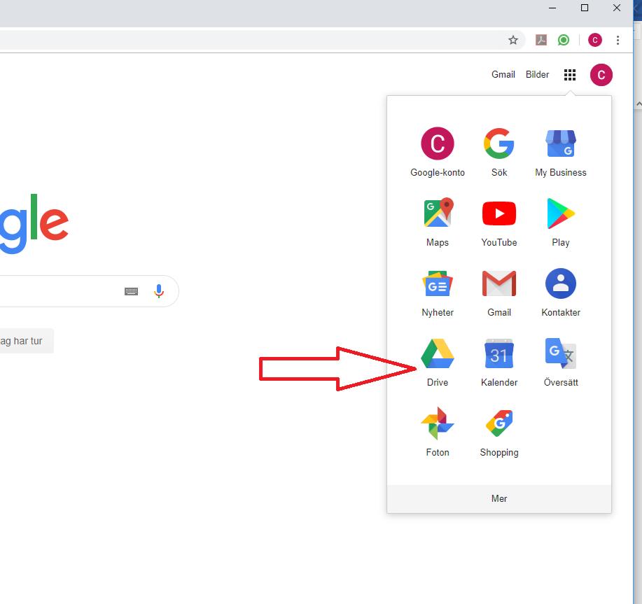 Pil som visar var du kommer åt google drive.
