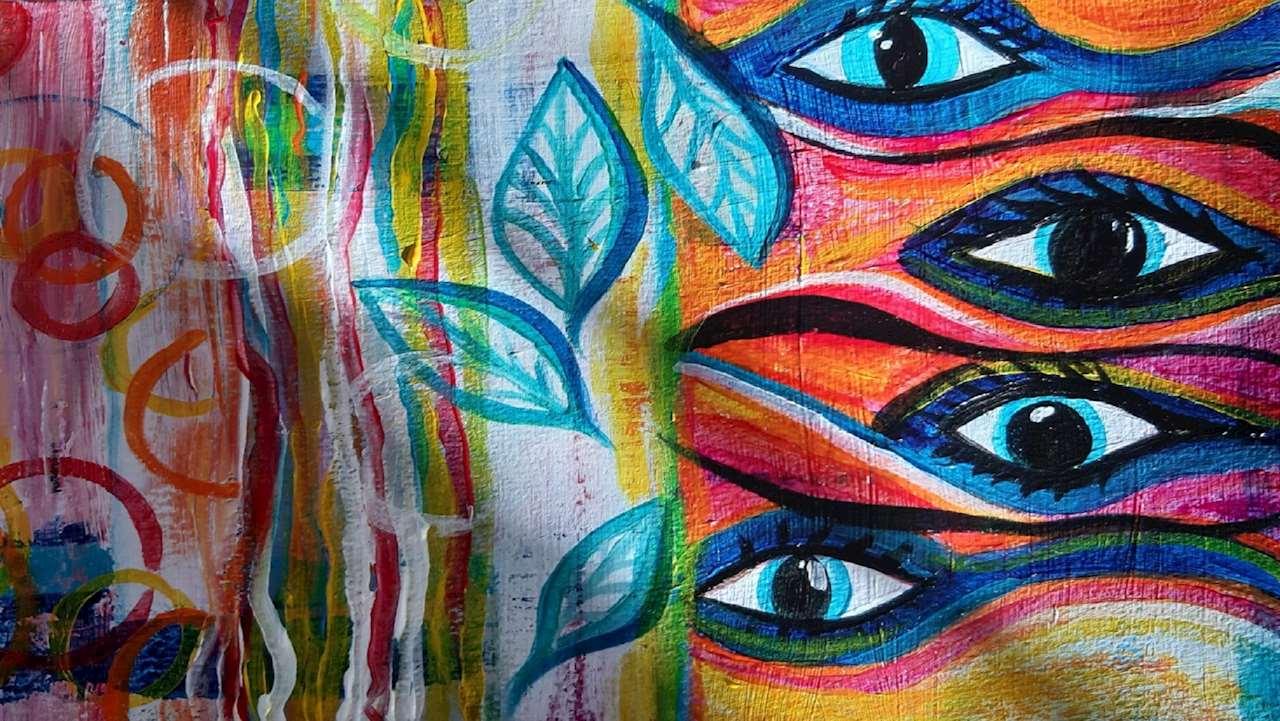 Abstrakt målning med ränder, blad och ögon i de dominerande färgerna röd, orange, blå och vit